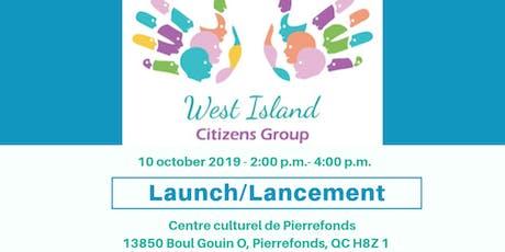 Lancement du Groupe citoyen de l'Ouest-de-l'Île tickets