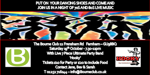 70s & 80s Disco Night - Live 7 Piece Hookey Band  Saturday 19th October