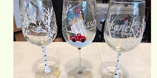 Winter Wonderland Wine Glass Painting Class with Dawn Spruill