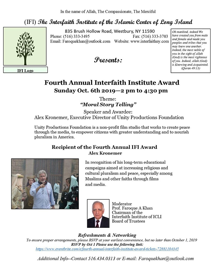 Fourth Annual Interfaith Institute Award image
