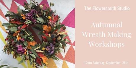 The Flowersmith Studio Autumnal Wreath Making Workshop  tickets