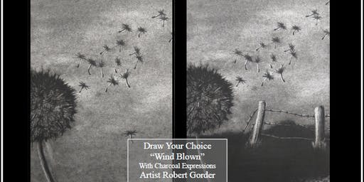 """Charcoal Drawing Event """"Windblown"""" in La Farge"""