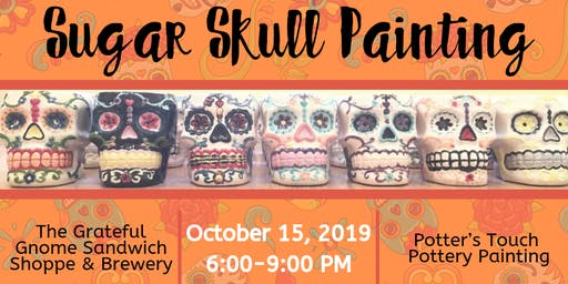 Sugar Skull Painting at The Grateful Gnome Sandwich Shoppe & Brewery