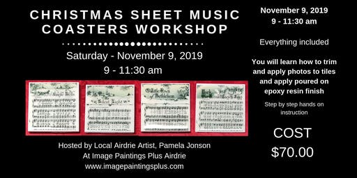 Christmas Sheet Music Coasters Workshop