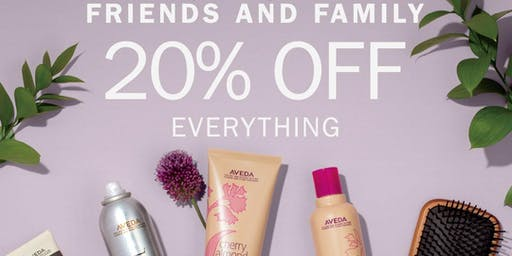 Aveda Friends and Family Event 20% OFF 9/19-9/22
