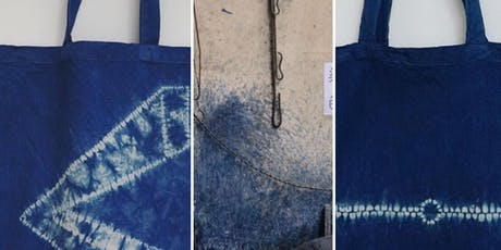 Traditional Indigo Bai -  stitch resists tie-dye tote bag workshop tickets