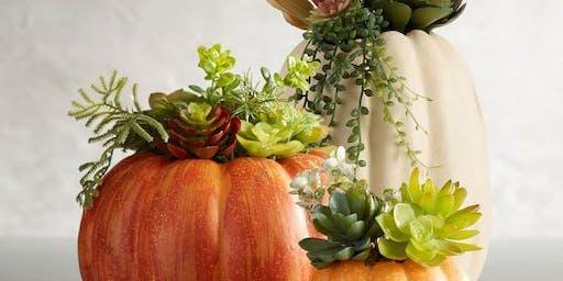 Pumpkin-Succulent Centerpiece