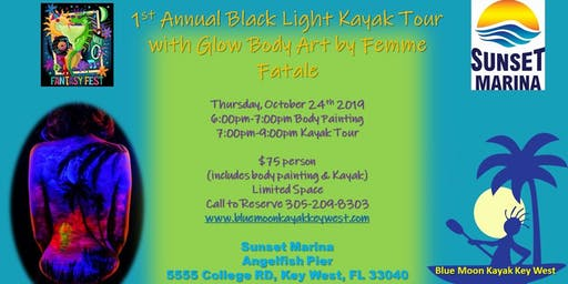 Black Light Kayak Tour w/Glow Body Painting by Femme Fatale