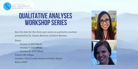 Qualitative Analyses Workshop Series - Part 3 tickets