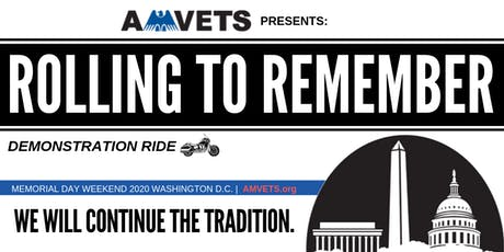 """AMVETS' """"Rolling To Remember"""" Demonstration Ride tickets"""