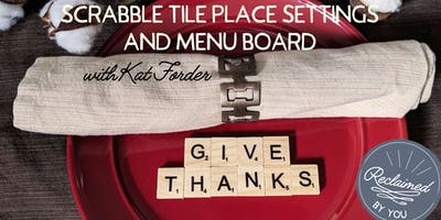 Scrabble Tile Place Settings and Menu Board