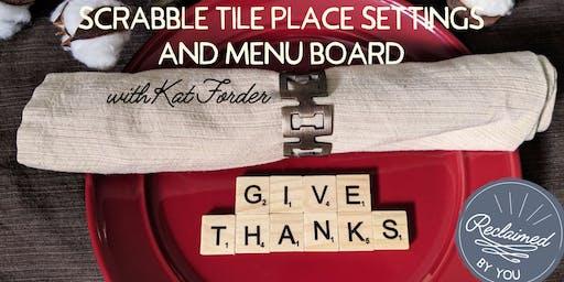 Scrabble Tile Place Settings and Menu Board