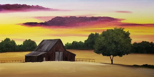 Barnyard Sunset Painting Party at Brush & Cork