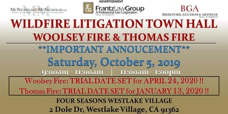 Wildfire Litigation Town Hall Meeting: Woolsey Fire and Thomas Fire tickets