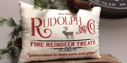 Holiday Sip & Stencil Pillow Slip Cover