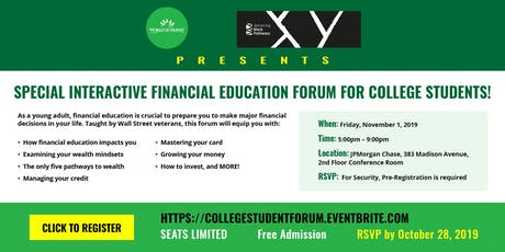 WorldofMoney  Financial Education Forum For College Students tickets