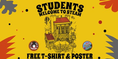 Free Steam T-shirt and poster with a student pint tickets