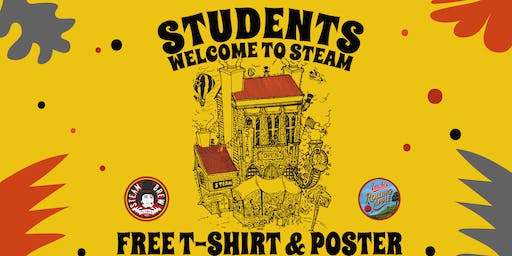 Free Steam T-shirt and poster with a student pint