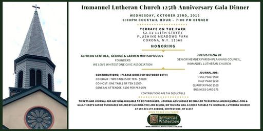 Immanuel Lutheran Church Gala Dinner - 125th Anniversary