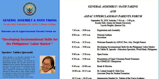 ASPAC GENERAL ASSEMBLY & OATH TAKING and UPPERCLASSMEN PARENTS FORUM