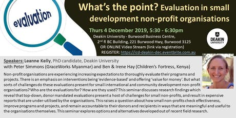 What's the point? Evaluation in small, development non-profit organisations tickets
