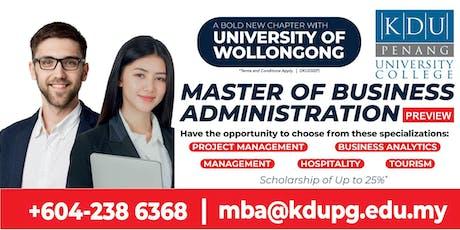 KDU Penang MBA Programme Preview tickets