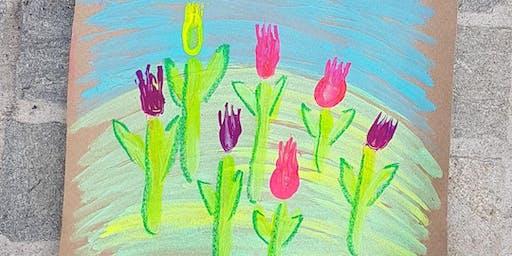 Fluro Fork Printed Flowers