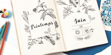 Atelier de personnalisation de carnet par Marie Vendittelli et Season Paper billets