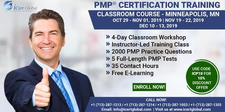 PMP® Certification Training Course in Minneapolis, MN, USA | 4-Day PMP® Boot Camp with PMI® Membership and PMP Exam Fees Included tickets