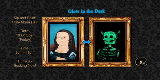 Sip and Paint (Glow in the Dark):  Cute Mona Lisa