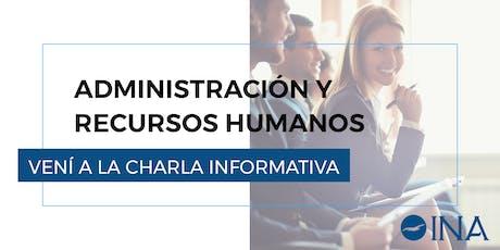 Charla informativa de Administración de Empresas y Recursos Humanos entradas