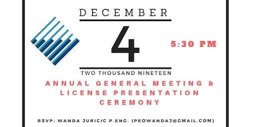 PEO Windsor-Essex Annual General meeting & License Presentation Ceremony 2019