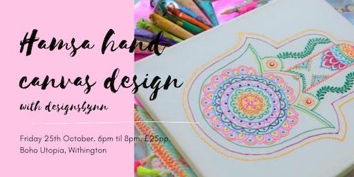 Weekly Wellbeing Workshop - Hamsa Hand Canvas Design