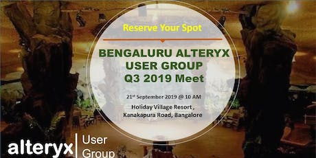 Bangalore  Alteryx User Group Q3 Meet tickets