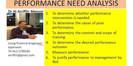 PERFORMANCE NEED ANALYSIS :   Planning for performance improvement tickets