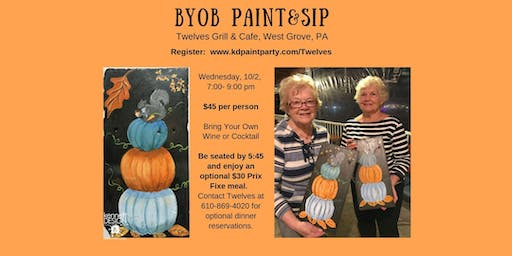 BYOB Painting - Pumpkin Stack on a Re-purposed Roof Slate - 10/2/19
