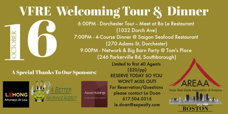VFRE Welcoming Tour & Dinner tickets