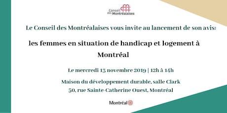 Lancement d'avis: Femmes en situation de handicap et logement à Montréal billets