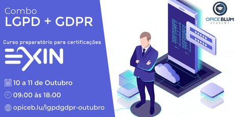LGPD + GDPR: imersão em proteção de dados preparatória para exames EXIN bilhetes