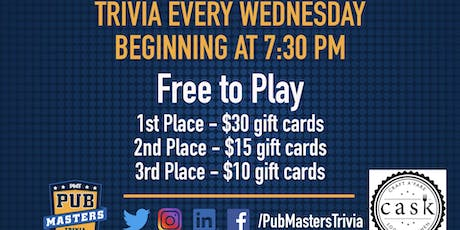 Pub Masters Trivia LIVE at Cask Social Kitchen - SoHo! tickets