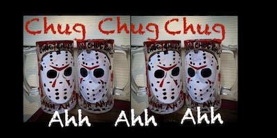 """Friday the 13th Jason""  Beer Mug Paint Night- Devil's Creek Brewery"