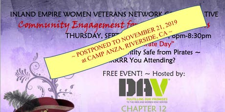 DATE CHANGE TO  11/21/19 - IEWVC Community Engmnt for Women Vets-Pirate Day tickets