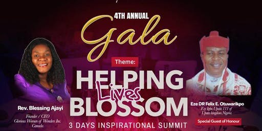 Glorious Women of Wonders 4th Annual  Gala: Helping Lives Blossom 2019