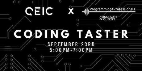 QEIC x Programming4Professionals Coding Taster tickets