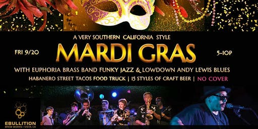 SoCal Mardi Gras With Euphoria Brass Band Funk Jazz With Andy Lewis Country Blues At Ebullition Brew Works