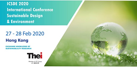 ICSDE2020 International Conference on Sustainable Design and Environment tickets