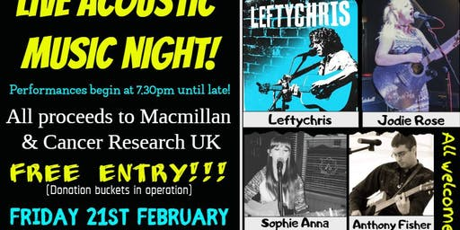 Acoustic charity night at The Vic Club! Chesterfield - FREE ENTRY!