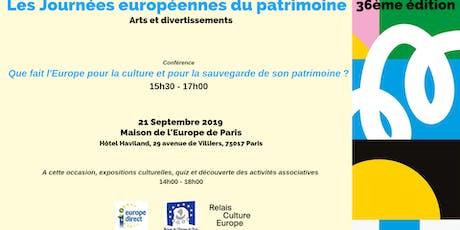 Les journées européennes du patrimoine - 36ème édition - Conférence tickets