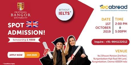 Spot Admission - Bangor University, UK tickets