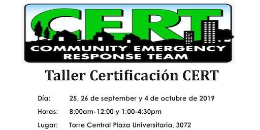 Taller Certificación CERT: Equipo comunitario de respuesta a emergencias